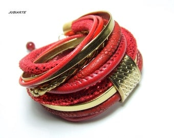 RED & GOLD Wrap Bracelet, Leather, Eco Leather, Eco Suede, Jade (B520)