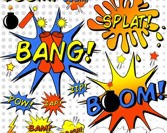 SuperHero Clipart, Comic Book Clipart, Comic Book Word Bubbles, Sayings and Sounds, Dynamite, Bomb Clipart, Pow, Splat, Zoom, Bang