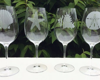 Beach Wine Glass Set - 4, Beach Theme Wine Glass, Sea Shell Wine Glasses, Custom Engraved Wine Glasses