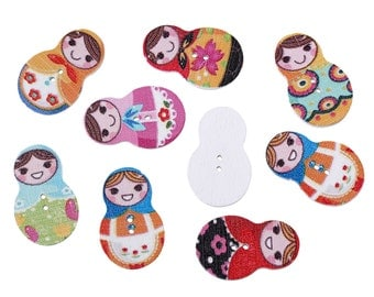 "Randomly Mixed Wooden Russian Doll Buttons, 3.0cm(1 1/8"") x 19.0mm(6/8""), Sewing, embellishment, Crafts, Crochet, Scrapbook, Knitting,"
