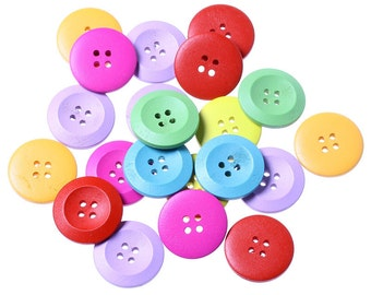 Pack of 25 Assorted Colour Wooden Buttons 25mm.  Sewing Knitting Scrapbook and other craft projects