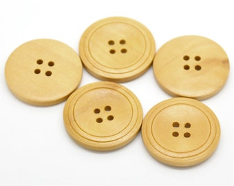 Natural Colour Classic Design Ridged Wooden Buttons 30mm.  Sewing Knitting Scrapbook and other craft projects