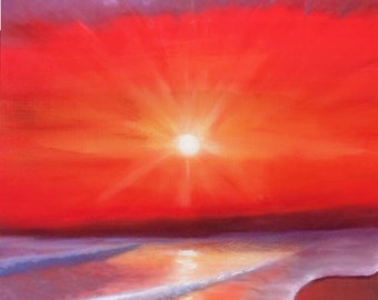 Solitude - Limited Edition Mounted A3 Artist print of Oil painting beach at sunset
