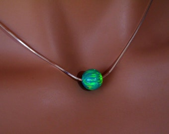 Round Emerald Green Gilson Opal on Sterling Silver Chain