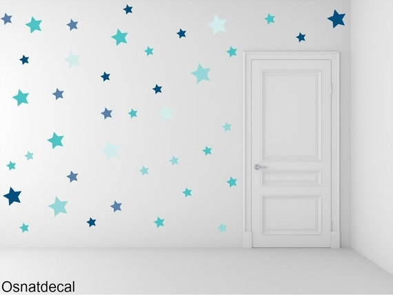 FREE SHIPPING Wall Decal Different Size of 150 Stars Color Shades Of Blue. Home Decor.Nursery Wall Sticker. Vinyl Wall Decal