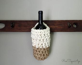 Hanging Wine Bottle Storage, Hanging Wine Rack, Color Block Eco Friendly Jute & Cotton Storage Basket for Rack, Sturdy Rustic Hanging Basket