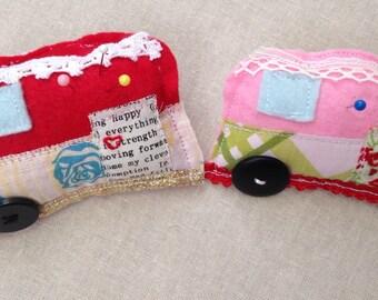 Retro camper pin cushion, vintage rv cushion, camper trailer pin cushion, rv sewing room, sewing gift, quilter gift