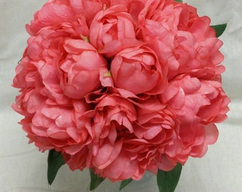 No. 3088 Coral Peony Bouquet - Artificial Flower Bouquet, Artificial Flower, Wedding Bouquet, Bridesmaid Bouquet.