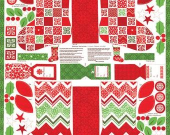 Christmas Stocking Fabric Panel, Moda 27211 Kate Spain Joy Panel, Makes 2 Stockings, Cotton Fabric Panel