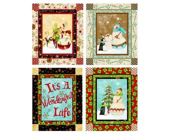 Christmas Fabric Panel, Holiday Dream, RJR 1569 Deb Grogan, Its a Wonderful Life, Penguin & Snowman Fabric Panel, Cotton Quilt Fabric Panel