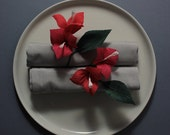Bougainvillea Napkin Rings, coral & crimson, 4/set #makeforgood