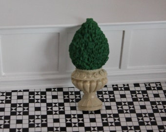 DOLLHOUSE MINIATURE Flat Backed Topiary Cream Pot
