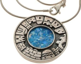 Circular Roman Glass Jerusalem Necklace in Silver