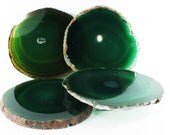 Vintage Agate Coasters, Set of 4, Green Dyed Natural Agate (EA2920) Polished stone slices quartz gem grounding crystal home decor rock
