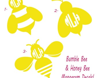 Bumble Bee and Honey Bee Monogram Decal - Preppy Decal - Monogram Decal - Bees