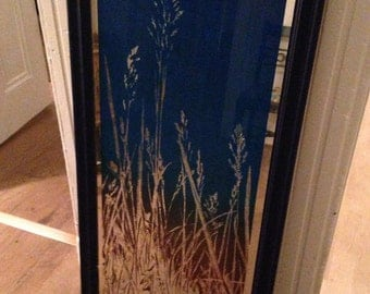 Large Upcycled Blue Framed Pampas Grass Mirror