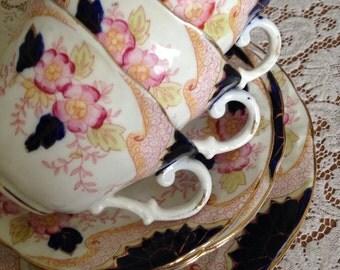 Vintage Tea Set  Three Trios  Early 20th Century  Vintage Teacups