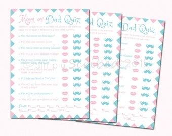 Printable Baby Shower Game - Mom or Dad Trivia - Lips and Mustache