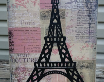 9 x 12 Mixed Media Canvas of the Eiffel Tower/Paris