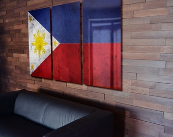 Triptych Philippine Flag hanging Rustic Worn Metal Wall Art Grunge