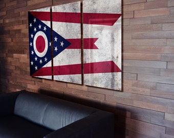 Triptych Ohio State Flag hanging Rustic Worn Metal Wall Art Grunge