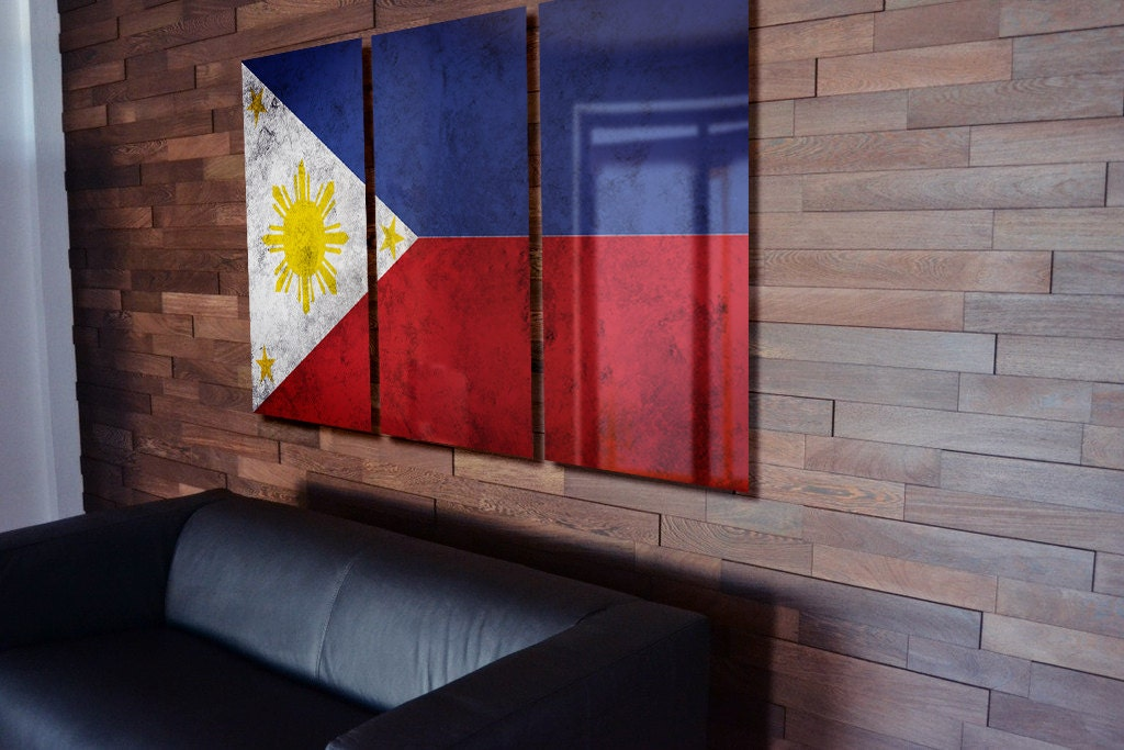 Triptych Philippine Flag hanging Rustic Worn Metal Wall Art