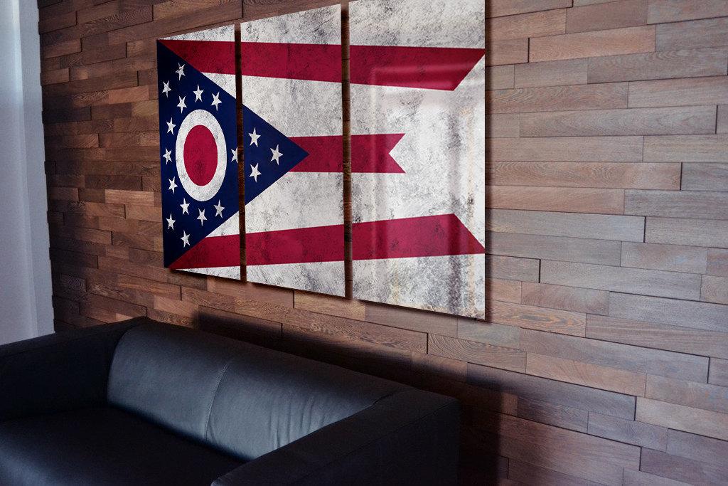 Ohio Wall Art triptych ohio state flag hanging rustic worn metal wall art