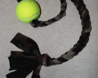 Camouflage Pattern Braided Fleece Rope Pull Toy with Tennis Ball for Dog