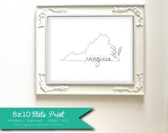 Printable Virginia State Art Print 8x10 Digital Wall Art Gift