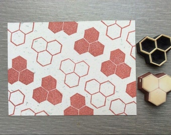 honeycomb stamp.geometrical stamp. hand carved stamp. rubber stamp. mounted