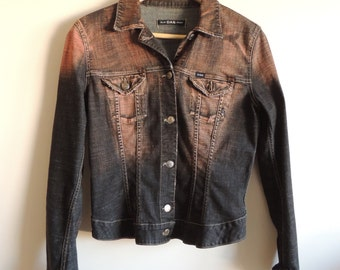 Vintage GAS asid black denim jacket with buttons and pockets, size L