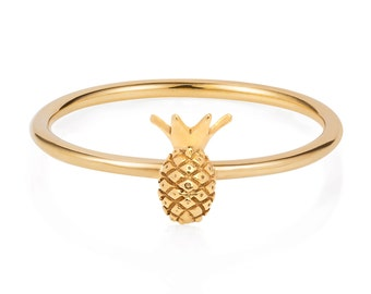 Tiny pineapple ring - gold vermeil