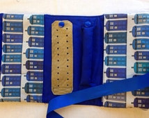 Travel Jewelry Roll, Travel Case, Jewelry Organizer TARDIS fabric, Doctor Who, Gift, blue ribbon tie, FREE SHIPPING