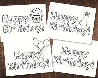 Color Me! Kids' Happy Birthday Card - Set of 4 Cards Birthday Cards for Kids / Coloring Cards / Birthday Cards for Toddlers