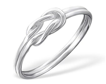 Plain knot 925 sterling silver ring, free shipping