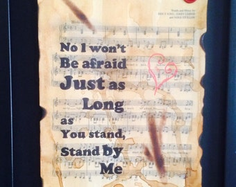 Ben e King, Stand by me, song lyric art, typographic art, sheet music art, gift idea,wall art, home decor, gift for her/him, A4/A3