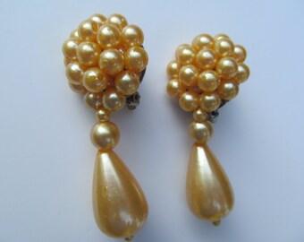 Vintage  Dangling - Pearl Clip Earrings