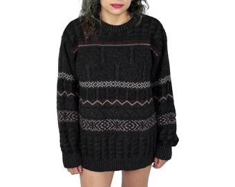 Dark Gray Aztec Print Sweater, Aztec Grandpa Sweater, Aztec Print Jumper