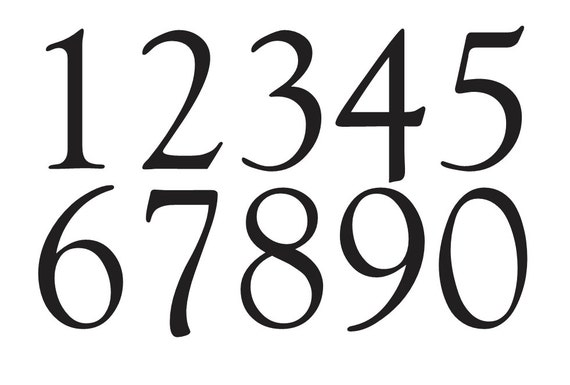 Number Stencil 4 Goudy Old Style Font Numbers 0 9 For