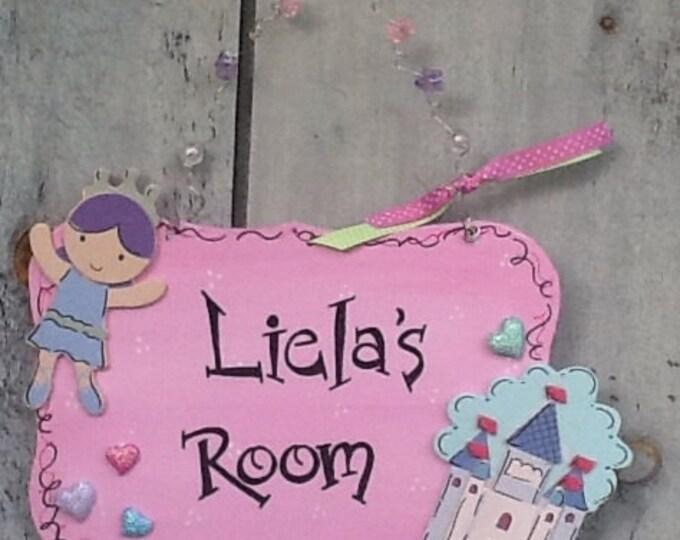 girls room sign, girls door hanger, girls door sign, princess door sign, princess room sign, princess signPrincess castle, ballet room sign
