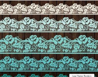 Professional Rose Lace Borders in Aqua - Lace Border, Lace Clipart, Lace Clip Art, Vector Lace, Wedding Clipart, Wedding Clip Art