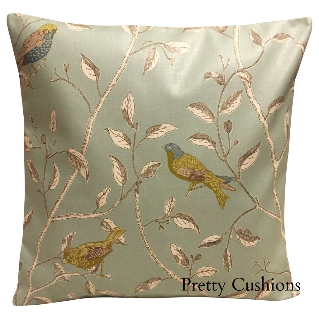 sanderson finches duck egg blue cushion cover. Black Bedroom Furniture Sets. Home Design Ideas
