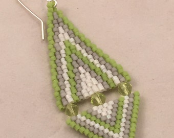 Chevron Triangle Delica Beaded Earrings in Green, Gray and White