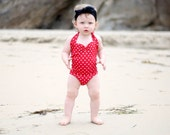 Red & white polka dot retro one piece baby girl swimsuit onesie newborn to 12 mos.
