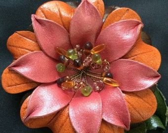Leather Flower Blossom Brooch or Pin