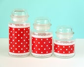 Vintage Anchor Hocking Canisters- Polka Dot Lace Red- Storage Jars with Lids- Set of 3- 1960s