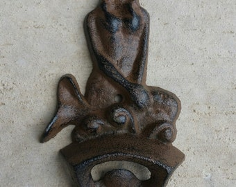 Cast Iron Mermaid Bottle Opener, Rustic Brown, Nautical Beer / Soda Opener Nautical, Wall Mount
