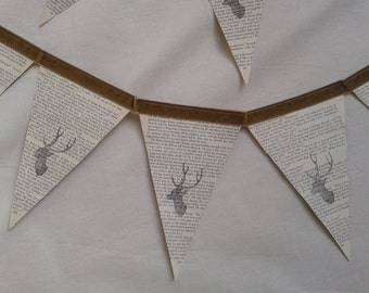 Stag Bunting made from vintage book pages