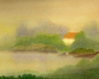 """Matted Water Color Reproduction Print """"Fog House"""""""