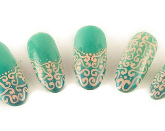 Princess of the Seas UV Gel Nails, Glue On Nails, Fake Nails, False Nails, Press On Nails, Blue Nails, Turquoise Nails, Summer Nails